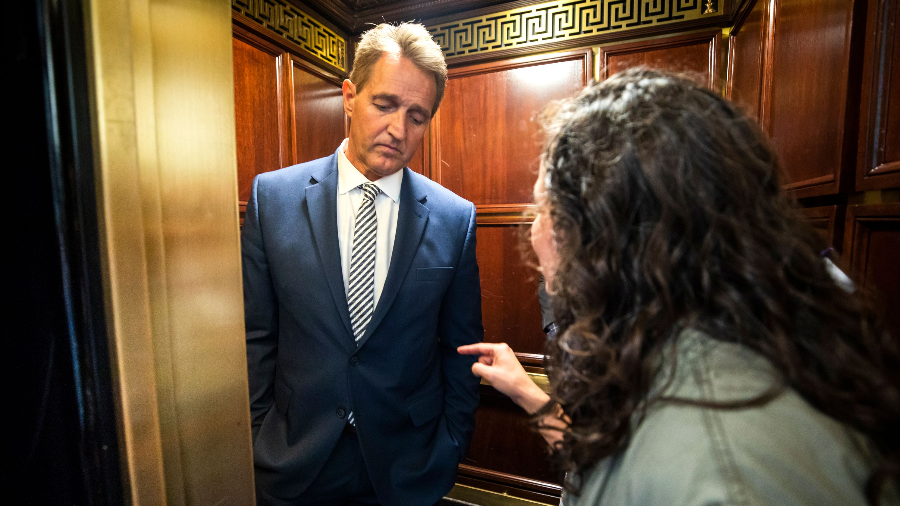 Jeff Flake confronted by #METOO protester